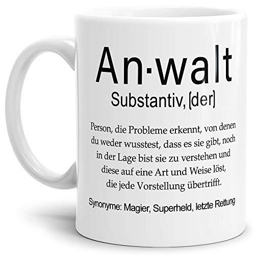 Tassendruck Tasse mit Definition Anwalt - Wörterbuch/Geschenk-Idee/Dictionary/Beruf/Job/Arbeit/Familie/Weiss