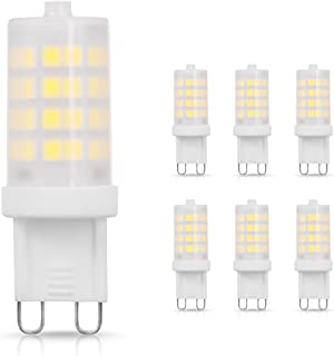 JandCase G9 LED Bulb, 4W 40W Halogen Equivalent, Daylight White 6000k, 400lm, 360 Degree Lighting for Chandelier, Bathroom Vanity, Wall Sconce, Ceiling Fan, Non-Dimmable, 6 Pack