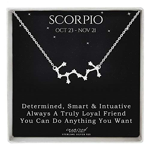 Sterling Silver Zodiac Constellation Necklace Astrology Horoscope Keepsake Card Gift For Women - Scorpio (Oct 24 - Nov 21)