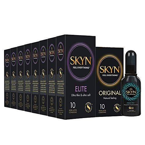 SKYN Elite, Preservativi Senza Lattice Supersottili, 80 pezzi + SKYN Original, Preservativi Senza Lattice, 20 pezzi + Lubrificante Intimo Naturale SKYN Aqua Feel (80ml)