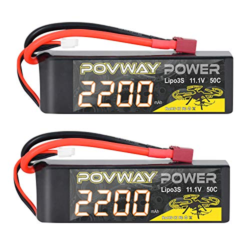 POVWAY 3S 11.1 V 2200mAh LiPo Battery 50C RC Battery with T Plug Compatible RC Airplane, RC Helicopter,Drone ect.(2 Pack)