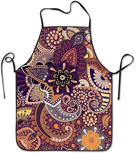 Delantal de cocina floral Paisley con lazos extralargos, delantal de cocina para hombres y mujeres, para cocinar, hornear, manualidades, jardinería, barbacoa