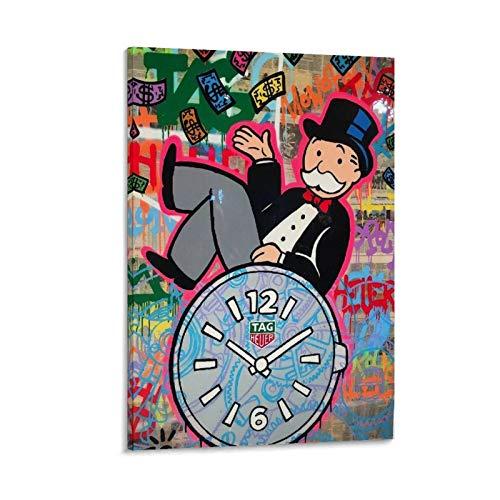 Póster de reloj de pared con diseño de mago de dibujos animados y monopolio de Zillionaire, monopolio de Zillionaire, lienzo decorativo para pared, para sala de estar, dormitorio, 20 x 30 cm