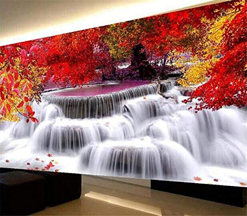 Diamond Painting Bilder Groß Cross Stitch Set Embroidery Full Drill DIY Handmade Resin Rhinestone Mosaic Gift for Home Decoration with Pasting Tools Kit - fließendes Wasser Landscape (120 * 50cm)