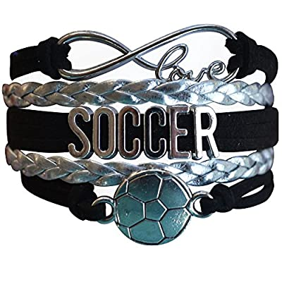 Infinity Collection Soccer Gifts- Soccer Bracelet, Soccer Jewelry, Adjustable Soccer Charm Bracelet- Perfect Soccer Gift