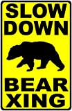 SalaGraphics Slow Down Bear Xing Sign. 9x12 Metal. Bears Crossing Safety
