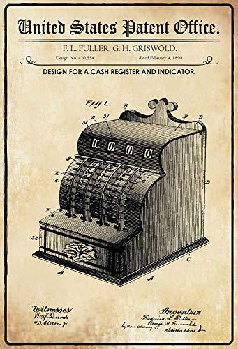 NWFS Patent Entwurf für eine Registerkasse Blechschild Metallschild Schild Metal Tin Sign gewölbt lackiert 20 x 30 cm