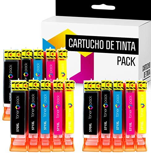 15 TONERPACK PGI 570 XL CLI 571 XL Cartuchos de Tinta Compatible para impresoras Canon Pixma MG 5750, 5751, 5752, 5753, 6850, 6851, 6852, 6853, 7750, 7751, 7752, 7753, TS 5050 (Pack 15)