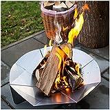teileplus24 FS05 Feuerschale Feuerstelle Feuerkorb   Groß Rund Ø 56cm   3D Design mit Wasserablauf   Platzsparend Zerlegbar, Größe:Ø 56cm