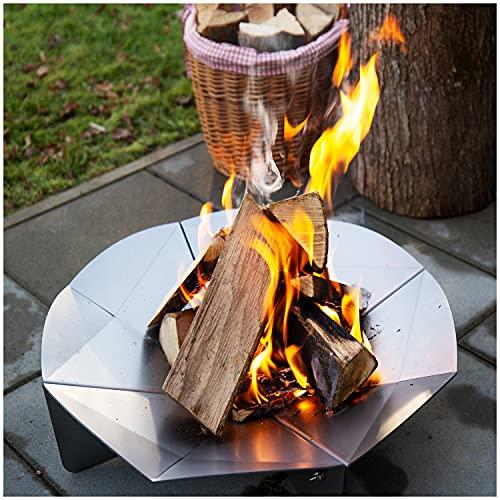 teileplus24 FS02 Feuerschale Feuerstelle Feuerkorb   Groß Rund Ø 56cm   3D Design mit Wasserablauf   Platzsparend Zerlegbar, Größe:Ø 56cm