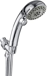 HOMELODY Handheld Shower Head with ON OFF Pause Switch, High Pressure 5-Setting, US cUPC Certific Bathroom Water Saving Hand Held Showerhead with Hose, Bracket, Chrome Finish, Alcachofa con manguera