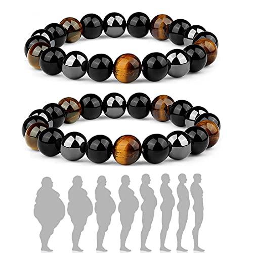 XYWY Steel Hard Triple Infrared Bracelet Men's,Hematite Black Obsidian Tiger Eye Stone Adjustable Bracelets Triple Protection Bring Luck And Prosperity (2 PCS)