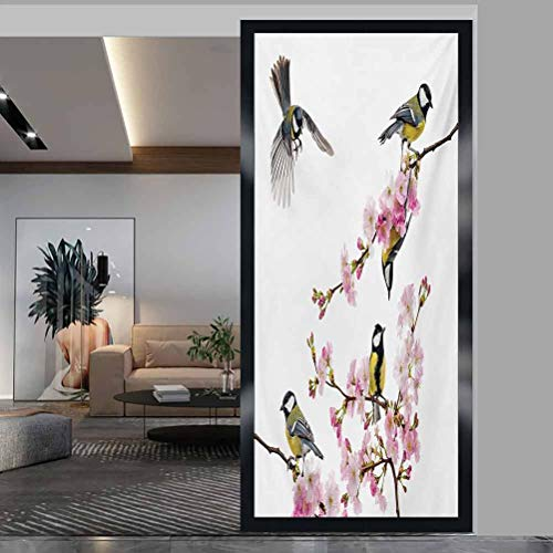 """W 17.7"""" x L 35.4"""" Static Cling Glass Film UV Window Sticker for Bathroom Bedroom Living Room,Group of Cute Hummingbirds on Flowering Branch Best Friends Peace Illustration Home Multicolor"""