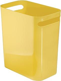 iDesign UNA Rubbish Bin with Handles, Plastic Wastepaper Bin for Office, Kitchen or Bedroom, Yellow