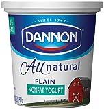 Dannon All Natural Quart Plain Nonfat Yogurt, 32 Ounce -- 6 per case.