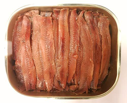 Filetti di acciughe del Mar Cantabrico in olio di oliva, pescate in primavera, maturate 12 mesi, scatola con tappo salva freschezza, peso netto 335g