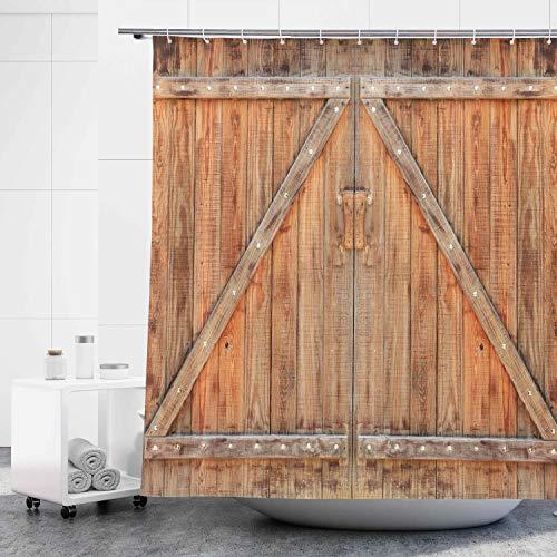 D&M Holz Scheunentür Duschvorhang Bauernhaus Holztür Landhaus Garage 182,9 x cm Antik Vintage Rustikaler alter Badvorhang für Badezimmer Badewanne Dekor Polyestergewebe mit 12 Kunststoff-Duschhaken