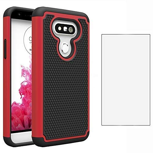 Phone Case for LG G5 with Tempered Glass Screen Protector Film Cover and Slim Hard Rugged Hybrid TPU Silicone Rubber Heavy Duty Protective Cell Accessories LGG5 SE LG5 G 5 5G Cases Women Black Red