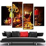 Aehoor 4 Panels Rotwein Wonderful Fruit Nut Poster Print Auf Leinwand Gemälde Wandkunst Bilder Für Wohnzimmer Restaurant Wohnkultur 80/60/40X30CM Gerahmt