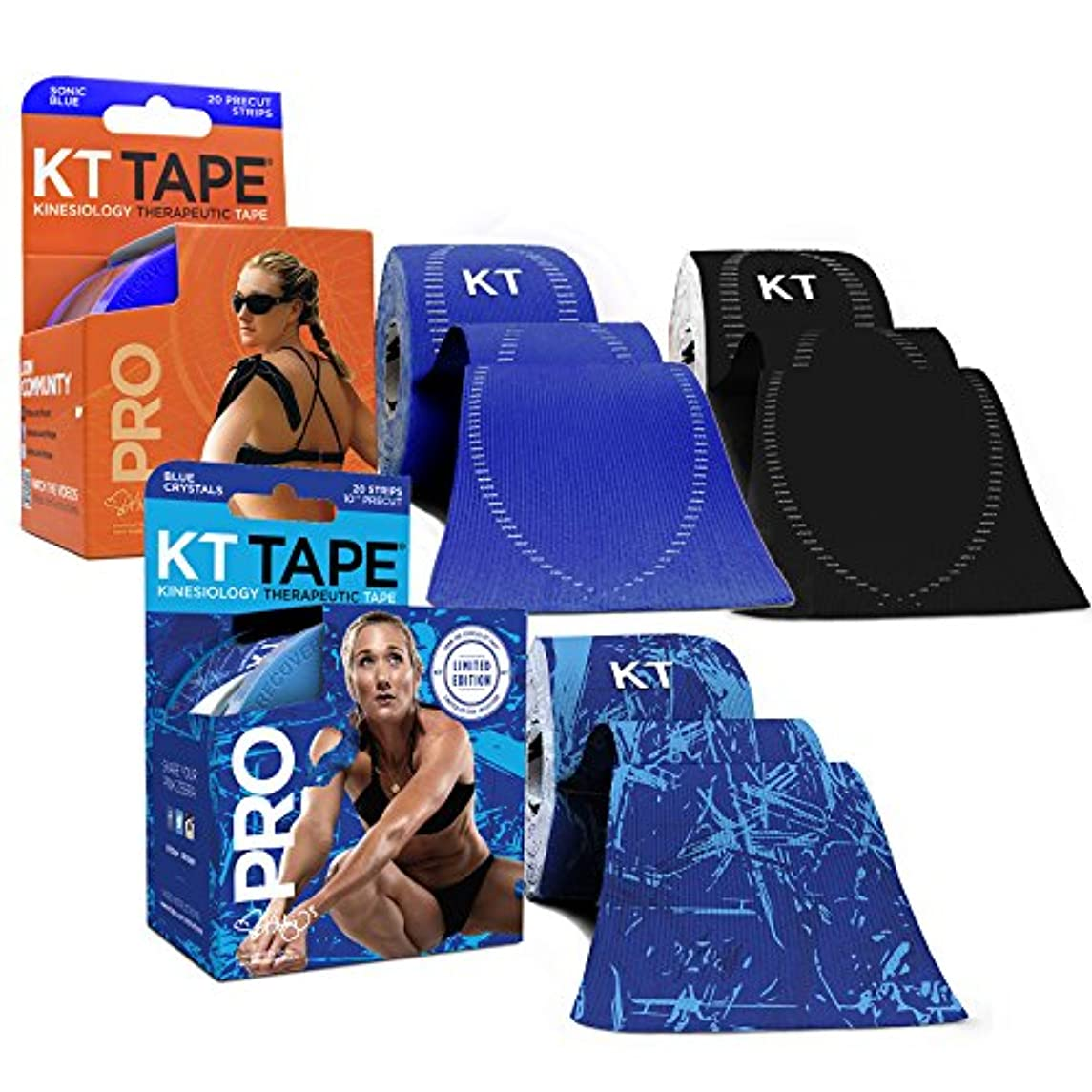 KT Tape PRO Synthetic Kinesiology Tape Three-Roll Bundles - 60 Count Precut I-Strips