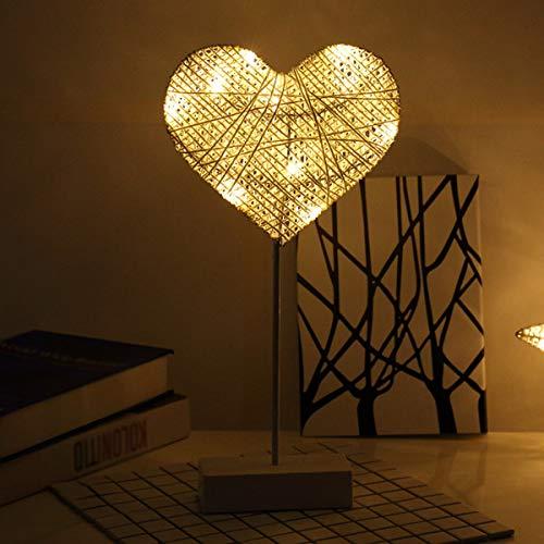 Cage décorative lampe de bureau, Rotin Chevet Night Light For Kids Chambre Salle à manger cadeau pour les enfants LED coeur chez les adolescentes Bar Café éclairage Alimenté par pile,Heart
