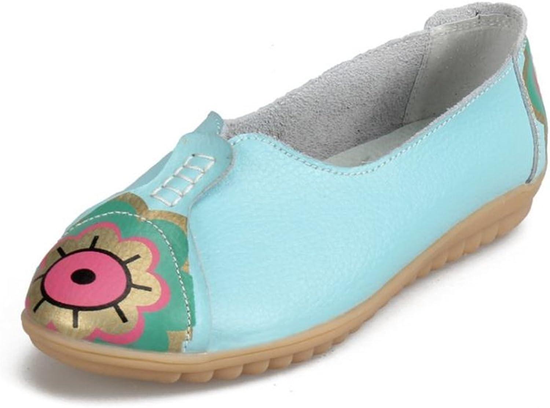 Fancyww Women's Leather Flower Flats Slip On Walking shoes