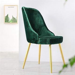 ReedG Sillas de Comedor Sillas de Cocina Cenar sillas Laterales Fuertes piernas del Metal Amortiguador de la Tela Asiento Trasero sillas del Comedor (Color : Dark Green, tamaño : 50x45x89cm)