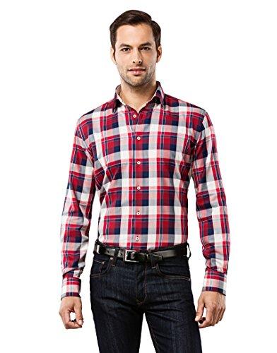Vincenzo Boretti Vincenzo Boretti Herren-Hemd bügelfrei 100% Baumwolle Slim-fit tailliert kariert New-Kent Kragen - Männer lang-arm Hemden für Anzug Krawatte Business Freizeit dunkelblau/weinrot 39-40