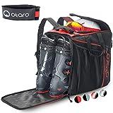 Otaro ® Premium Bolsa para Botas de esquí con Compartimento para Casco (Classic: Rojo/Negro)