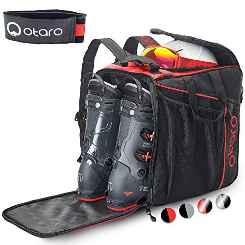 Otaro ® Premium Skischuhtasche mit Helmfach (Classic: Rot/Schwarz)