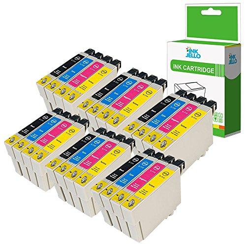InkJello Compatible Encre Cartouche Remplacement pour Epson Stylus CX4300 D120 D5050 D78 D92 DX400 DX4000 DX4050 DX4400 DX4450 DX5000 DX5050 DX6000 DX6050 DX7000F T0711 T0891 (B/C/M/Y, 24-Pack)