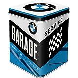 Nostalgic-Art 31307 Retro Teedose BMW – Garage – Geschenk-Idee für Auto Zubehör Fans, Aufbewahrung für losen Tee und Teebeutel, Vintage Design