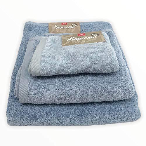 Supreme - Juego de 3 toallas de baño 100% rizo de algodón, toalla de 90 x 150 cm, cara 60 x 100 cm, invitados 40 x 60 cm (azul)