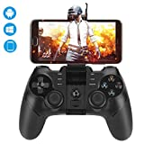 Bluetooth Game Controller, Maxjaa 2.4G Wireless Gamepad with Retractable Bracket USB Rechargeable Controller Joystick for iOS, Android, Windows PC, PS3, Smart-TV, VR (Not for PS4 games)