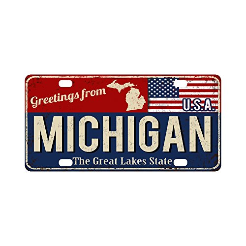 InterestPrint Greetings from Michigan Rusty Metal Sign with American Flag Automotive Metal License Plates Decor Decoration, Car Tag for Woman Man - 12 x 6 Inch