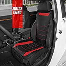 Motor Trend LuxeFit Red Faux Leather Car Seat Cover for Front Seats, 1 Piece – Premium Universal Fit Interior Protector, Padded Leather Seat Cover Cushion for Auto Truck Van & SUV