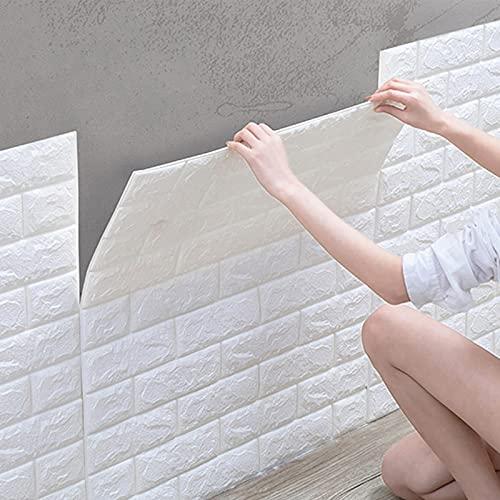 10 unidades de papel pintado autoadhesivo 3D, resistente al agua, ladrillo, papel...