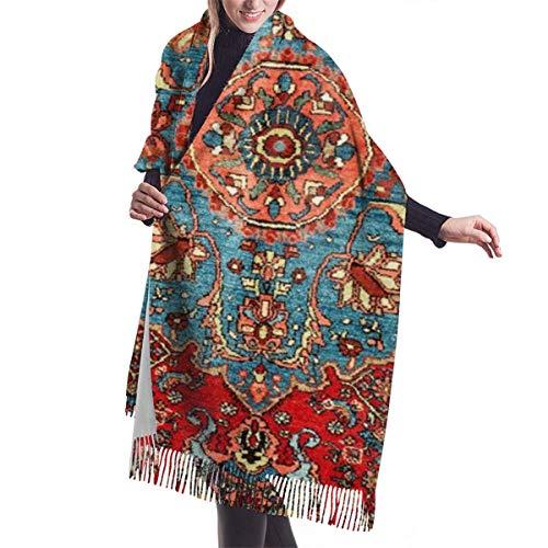 Lilyo-ltd Bidjar Antik kurdische Nordwesten Perserteppich Schal Wrap Winter Warm Schal Cape Große Schal Übergröße Schal für Damen