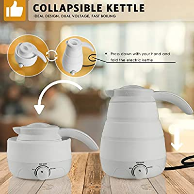 Electric Kettle, 2019 Upgrade 110V/220V Collapsible Travel Accessories for Fast Heating Hot Water, Coffee and Tea, 0.6L Food Grade Silicone Portable Temperature Control Water Boiler