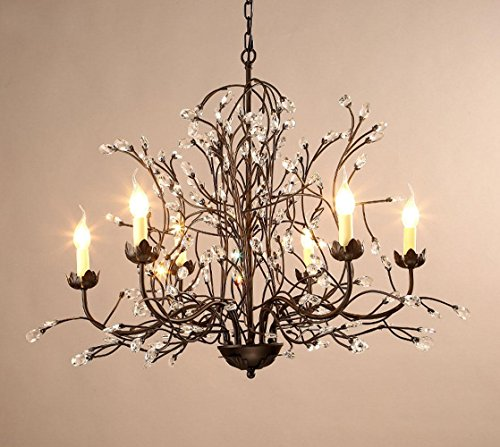 Estilo americano rural el hierro ramas cristal 6luces lustre para salón, dormitorio, restaurante, bar, luz