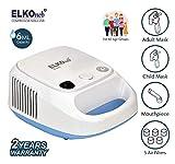 ELKOneb Handy EL-720 Piston Compressor Nebulizer Machine with Complete Mask Kit for Adult & Child (White/Blue)