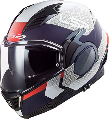 LS2 Unisex Valiant Ii Citius Motorradhelm, Weiß/Blau, L
