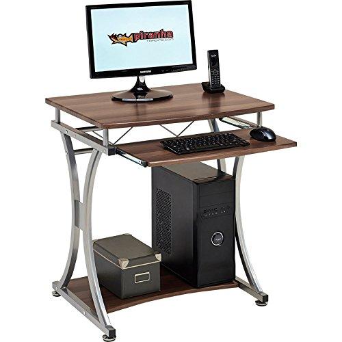Piranha Trading Escritorio Mesa de Ordenador Compacto para la Oficina y Despacho en Casa con Bandeja de Teclado de Melamina Efecto Nogal Oscar PC11w