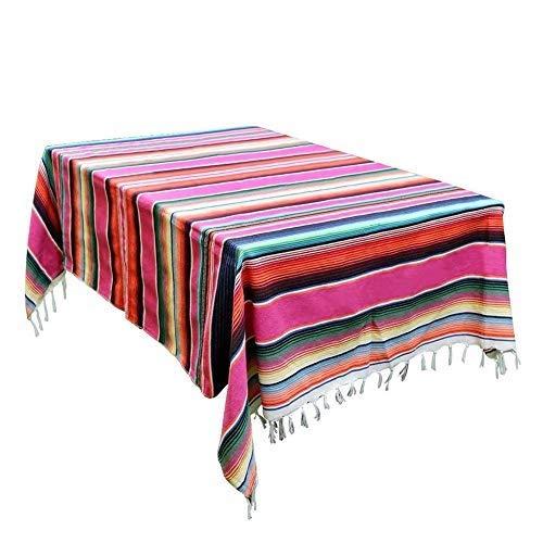 bestlle Nappe à rayures mexicaines, couverture de lit, couverture de table, tapisserie, tapis de pique-nique, décoration de fête de mariage mexicaine.