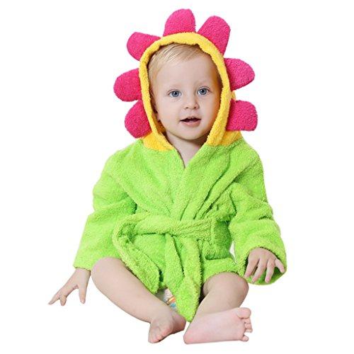 Baby badhanddoeken met capuchon jongens meisjes nachtkleding kleine kinderen badjas met dierontwerp 0-24 maanden newborn; 24 monate groen, bloemen