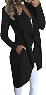 Alician Women's Lapel Collar Solid Color Long Sleeve Slim Fit Wind Coat with Pockets