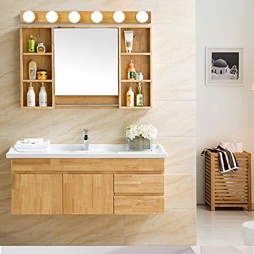 Honglimeiwujindian commode badkamerspiegel lichten 6-licht hout kleur badmeubel licht boven spiegel lampen met gloeilampen 31 in voor make-up badkamer waterdicht anti-condens