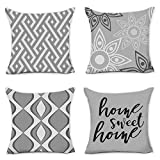 Hexagram Modern Geometric Striped Pillow Covers 18 x 18 Inch Set of 4 Grey Soft Linen Home Decorative Throw Pillow Cover Gray Cushion Case for Sofa Couch Living Room Indoor Outdoor Home Decor