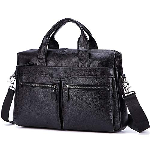 T-ara El Nuevo Hombres Negros Bolsos de Cuero literales Orotund Cuero 14'Laptop Messenger Bags Business Men's Bags Bags Bags Bags Maletín Imprescindible para el Senderismo