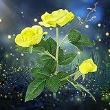 Roses artificielles Creny - Avec éclairage à 3 LED, étanche, à énergie solaire - Belle décoration pour jardin, pelouse et balcon